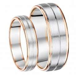 His & Hers 5&7mm Palladium and 9ct Rose Gold Wedding Ring